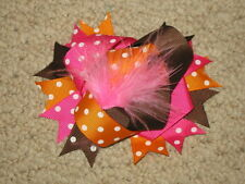 """New """"Autumn Dot Poof"""" Fur Hairbow Alligator Clips Girls Fall Ribbon Hair Bows"""