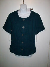 J. Jill Linen Blend Top Green Short Sleeves Button Down Blouse msrp $79 NWTs