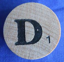 WordSearch Pressman Single Round Wood Letter D Tile Replacement Game Piece 1988
