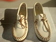 VINTAGE QUODDY MOCCASINS Men's Leather Slippers, Weron Soles, Size 10
