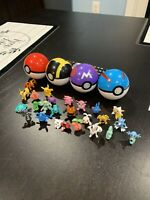 4 Pokeballs with 24 Small Random Pokemon Figures! Master Ball, Great Ball, Ulyr