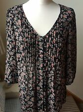 MONSOON Black & Mix Floral Print, Pleated Top, Loose Fitting, Size 8 Spring