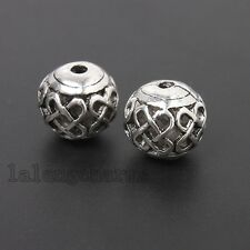 10x Antique Silver Alloy Chinese Knot Pattern Hollow Round Beads DIY Jewelry LC