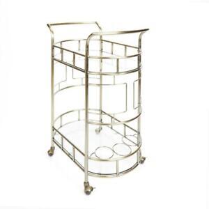 Kitchen Serving Cart Wine Bottle Holder Bar Storage Kitchen 2 Tier Antique Gold