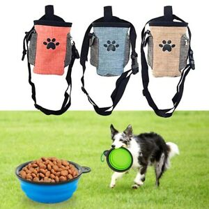 Pet Dog Training Treat Waist Bag Foldable Puppy Food Dishes Bowl Snack Pouch Set