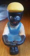 "Black Americana Ceramic Chalk Boy Fishing 12"" High"