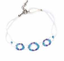 DAINTY PLASTIC THREAD LOOPS & AQUA/ROYAL BLUE BEADS BRACELET ADJUSTS 2.5CM(ZX48)