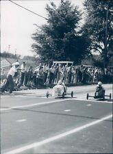 1982 Photo Soap Box Derby Race People Street Trees Historic Vintage Cheering