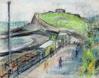 ADELE REIFENBERG Pastel Drawing BEACH HUTS AT EASTBOURNE GERMAN EXPRESSIONISM