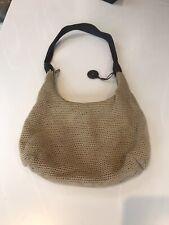 The Sak Crochet Beige Shoulder Hobo Bag with brown leather strap
