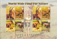 Tanzania MNH Sc 2437a Souvenir sheet Value $ 8.00  US $$ WWF Topi Antelope