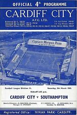 Football Programme CARDIFF CITY v SOUTHAMPTON Mar 1963