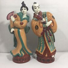 "Vintage Pair Chinese Couple Figurines, Glazed Ceramic (14""H)"