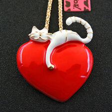 Heart Cat Pendant Sweater Necklace Betsey Johnson White/Red Enamel Love