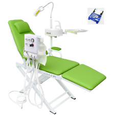 Dental Portable Chair with Water Supply System&LED Lamp Green+Handpieces Set 2H