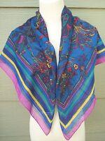 "ACUTE Wrap Shawl Scarf Floral Print 34"" Square Bright Purple Blue 34""x34"" Italy"