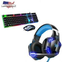 3.5mm Gaming Headset LED Stereo Headphones + LED Gaming Keyboard & Mouse Set