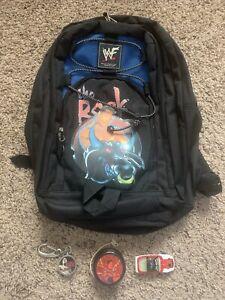 Vtg! 90s WWF Attitude Era The Rock Backpack Yoyo Keychain Watch Diecast Car WWE