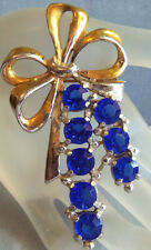 TRIFARI 40'S LARGE STERLING VERMEIL RIBBON BOW BROOCH HEAVY  BLUE CRYSTALS