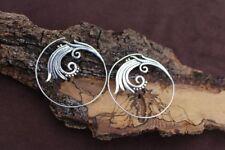 Ethnic Tribal Brass Hoops Earrings J35 Fine 925 Silver Plated Mandala Moroccan