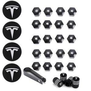Tesla Model 3 S X Y Car Wheel Center Hub Cap Cover and Lug Nut Covers Kit 29PCS