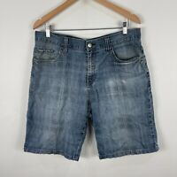 Billabong Mens Shorts 34 Blue Denim Zip Closure Bermuda