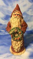 HTF SIGNED Vintage R&T Rita Reed Allred & Upton Gray Santa Figurine Wreath EUC