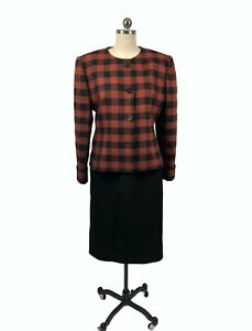 Givenchy Nouvelle Womens Vintage Suit  France 44 US Large Orange Black Check