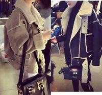 New Women's Winter Lapel Coat Short Loose Jacket Suede Lamb Lining Warm Outwear