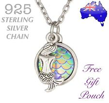 Mermaid Scales Charm Pendant 925 Sterling Silver Chain Necklace Ocean Beach Gift
