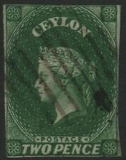 CEYLON-1857 2d Green Sg 3 GOOD USED V40202