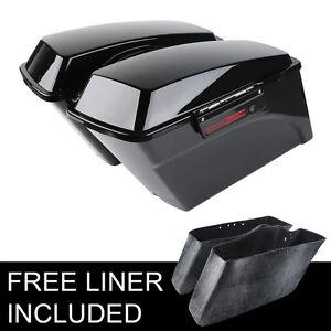 Vivid Black Hard Saddlebags Bag & Latch Keys Fit For Harley Touring Models 94-13
