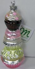 Pink Cupcake Tower Christmas Ornament Glass Midwest Season Canon Falls 2014 New
