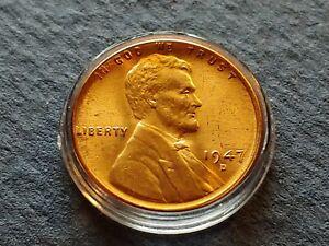 Brilliant Unc. Orange Red 1947 Denver Wheat Penny, Strong details w Holder.