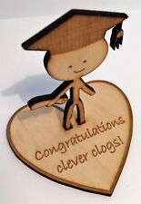Wooden Graduation Figurine 'Clever Clogs' - perfect personalised gift/present