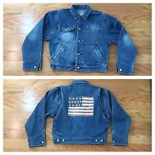 Ralph Lauren Denim Trucker Jacket Men's sz Medium American Flag M Vintage