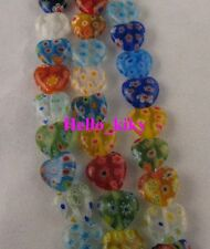 2 Strands Millefiori glass heart beads 12mm M708