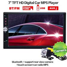 "2 DIN 7"" Car MP5 Player Bluetooth Stereo Radio FM HD Touch Screen + Rear Camera"