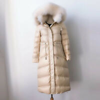 Womens Fur Hooded Coats Loose Long Thicken Down Batwing Sleeve Parka Overcoat V1