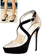 Jimmy Choo TULIP Black Suede Platform Pump Gold Glitter Front Heels 39 Shoe 8