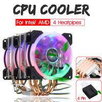INSMA CPU Cooler 3X LED RGB Fan 4 Pin 4 Pipe For LGA 775/1155/1156/1150/1366 D