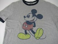Disney Mickey Mouse Gray T-shirt with Blue Collar size Large Short Sleeve A7