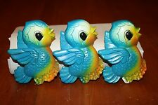 Three Mid Century Chalk Ware Blue Birds 1970 Miller Studio 3D Wall Plaques GUC
