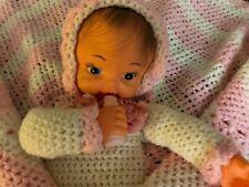 Crochet Baby Doll in Blanket Vintage Handmade Plastic Head and Hands