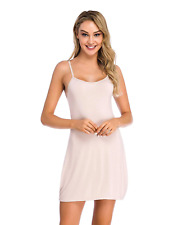 Popbee Women's Full Slip Dress Adjustable Spaghetti Strap Cami Mini Dress