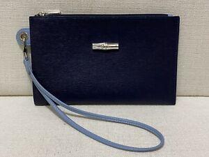 LONGCHAMP Ladies Roseau Pouch / Wristlet - Blue/Blue