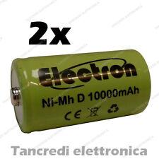 2pz Pila Batteria ricaricabile Ni-Mh NiMh torcia D 1,2V 10000mAh 10Ah torcione