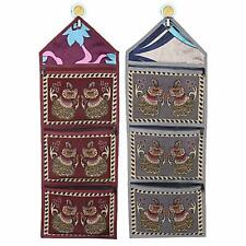 Cotton 2 Pieces Wall Hanging Magazine Letter Holder (Grey & Maroon)