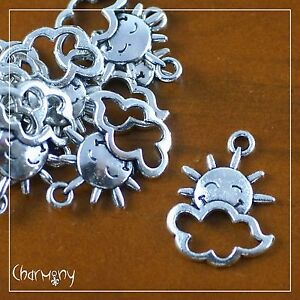 Sun & Cloud Weather charms ~PACK of 10~ smile face sunshine Tibetan silver bead
