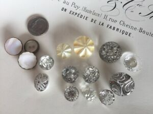 Lot of 15 ART DECO Vintage Clear Painted Faceted Crystal Buttons Silver Gold
